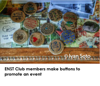 ENST club members make buttons to promote an event